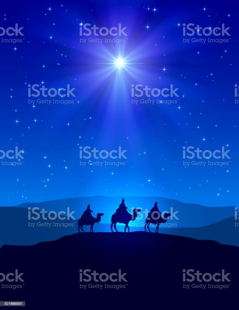 Christmas star on blue sky and three wise men vector art illustration