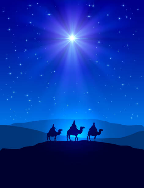 Christmas star on blue sky and three wise men Christian Christmas night with shining star on blue sky and three wise men, illustration. nativity silhouette stock illustrations