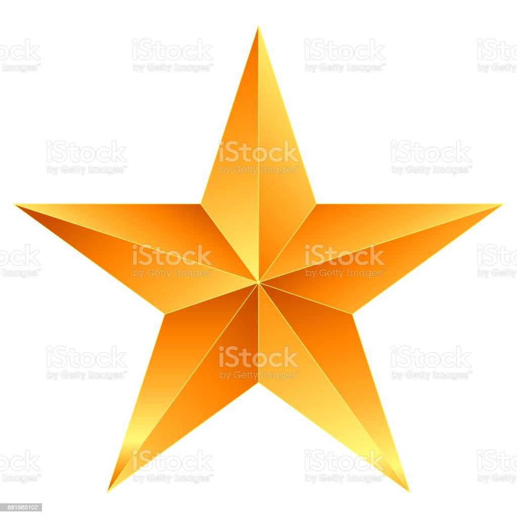 Christmas Star orange - 5 point star - isolated on white vector art illustration