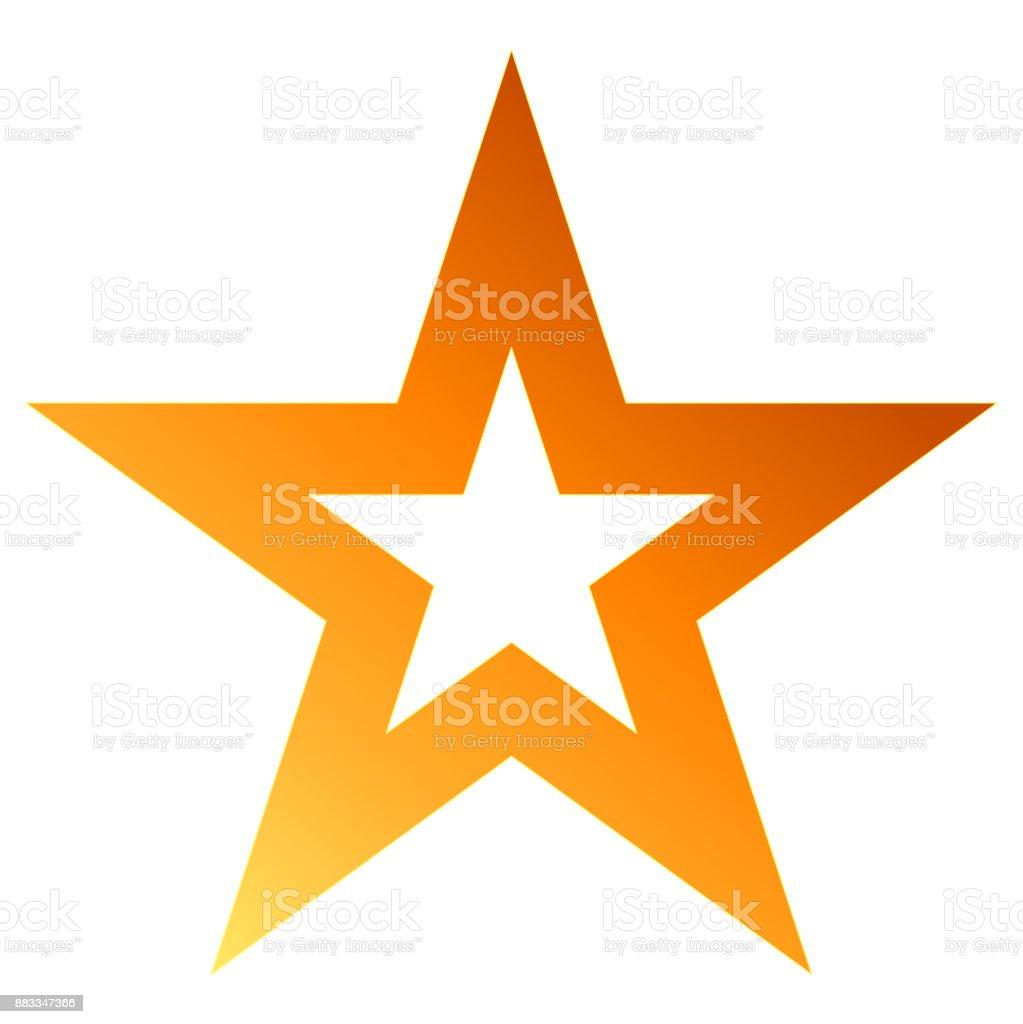 Christmas star orange - outlined 5 point star - isolated on white vector art illustration