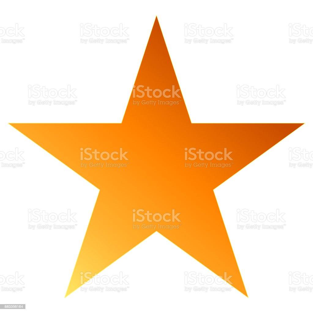 Christmas star orange - simple 5 point star - isolated on white vector art illustration