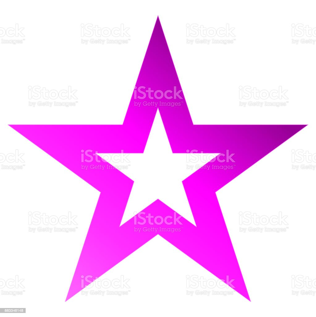 Christmas star purple - outlined 5 point star - isolated on white vector art illustration