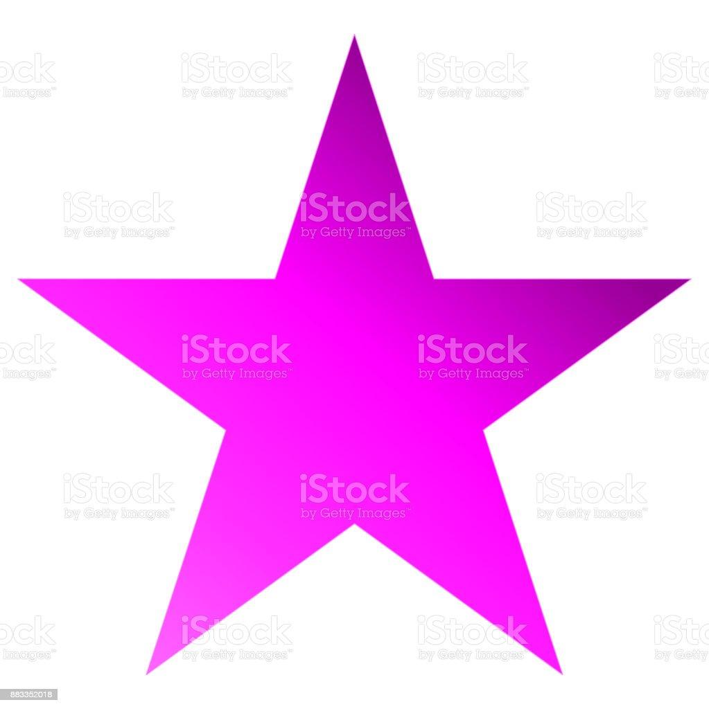 Christmas star purple - simple 5 point star - isolated on white vector art illustration