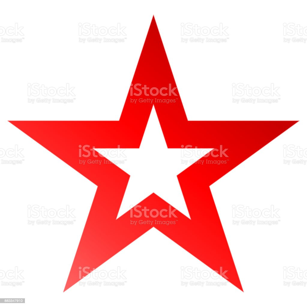 Christmas star red - outlined 5 point star - isolated on white vector art illustration