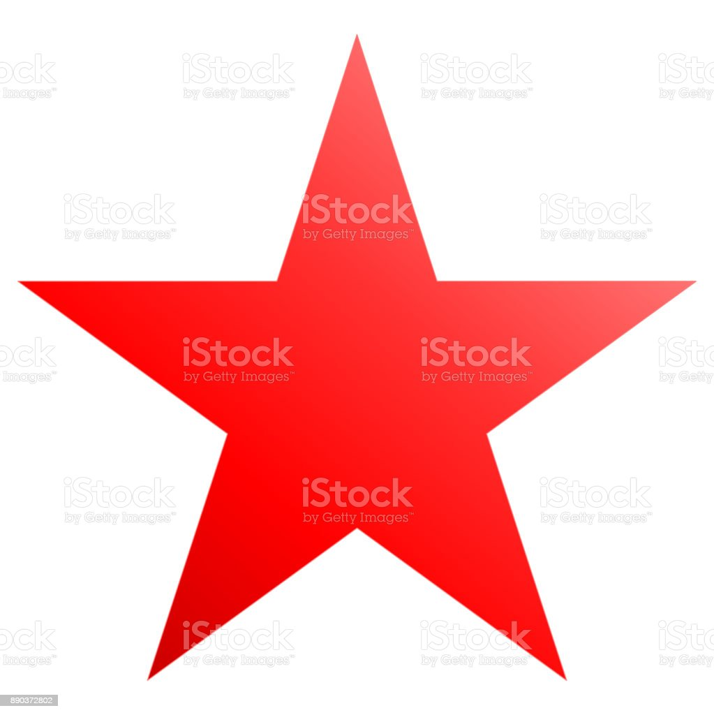 Christmas star red - simple 5 point star - isolated on white vector art illustration