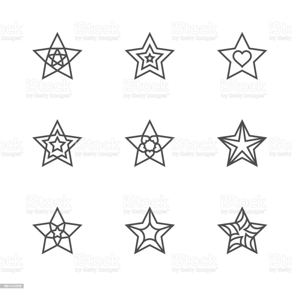 Christmas Star Symbol Outline Stroke Design Black And White Color With Pattern Set Illustration Isolated On