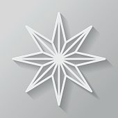 Christmas Star Thin Line Flat Design Icon