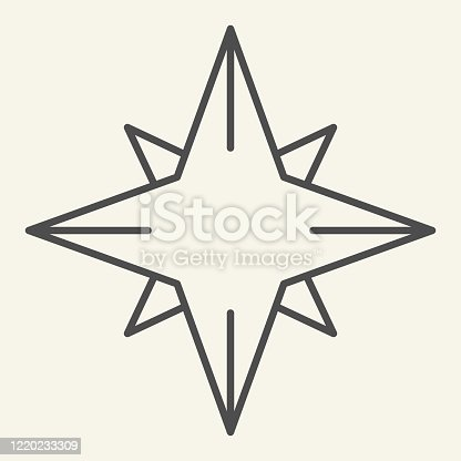 Christmas Star thin line icon. Northern Star outline style pictogram on white background. New Year and Christmas decoration for mobile concept and web design. Vector graphics