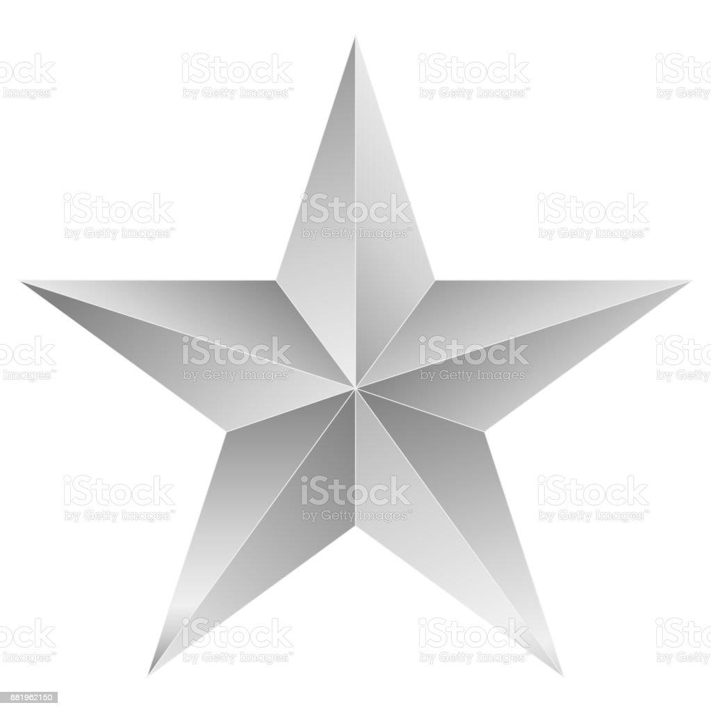 Christmas Star white - 5 point star - isolated on white vector art illustration