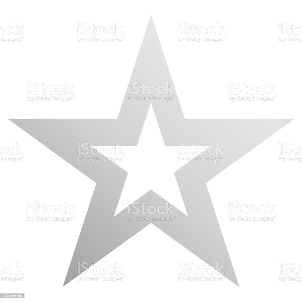 Christmas star white - outlined 5 point star - isolated on white vector art illustration
