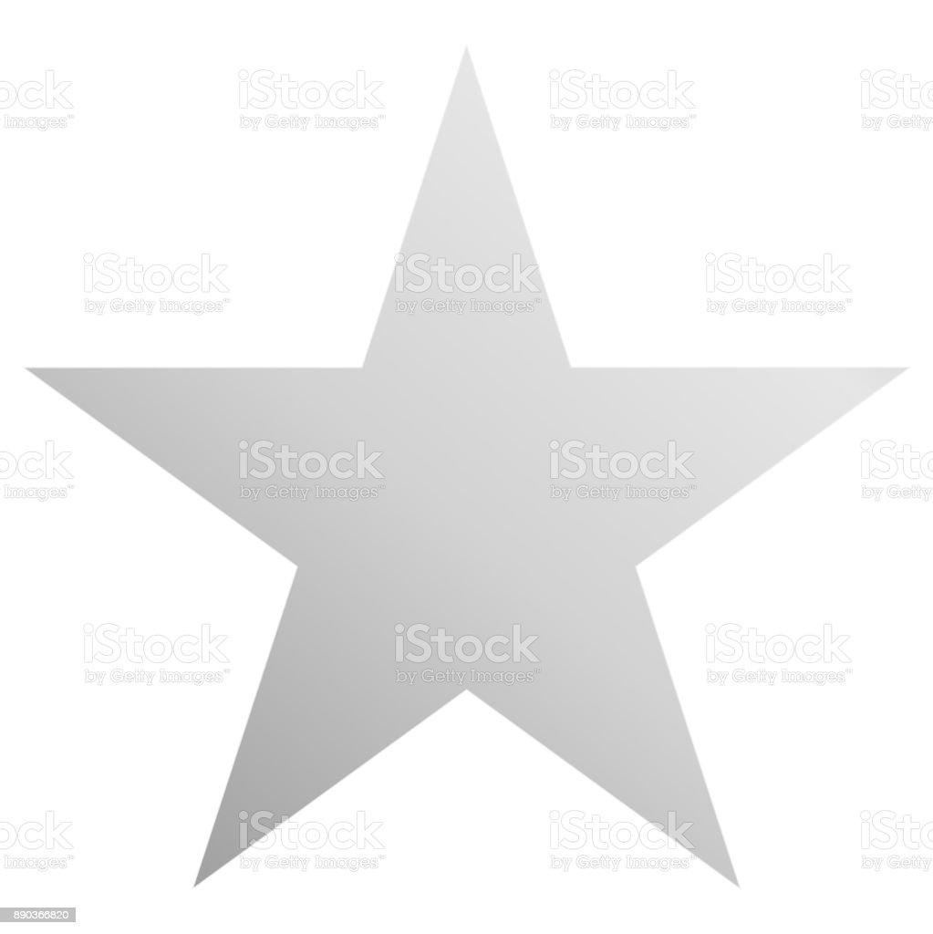 Christmas star white - simple 5 point star - isolated on white vector art illustration