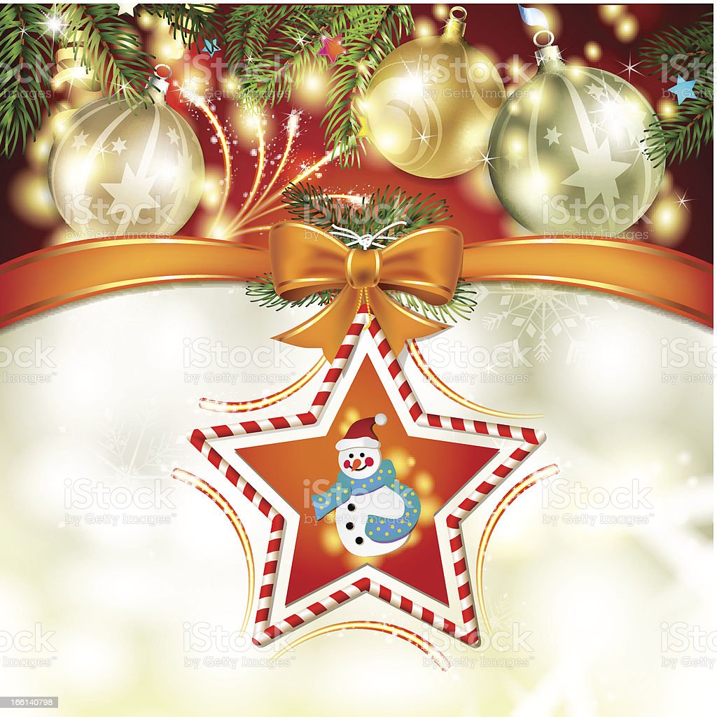 Christmas star with snowman royalty-free stock vector art