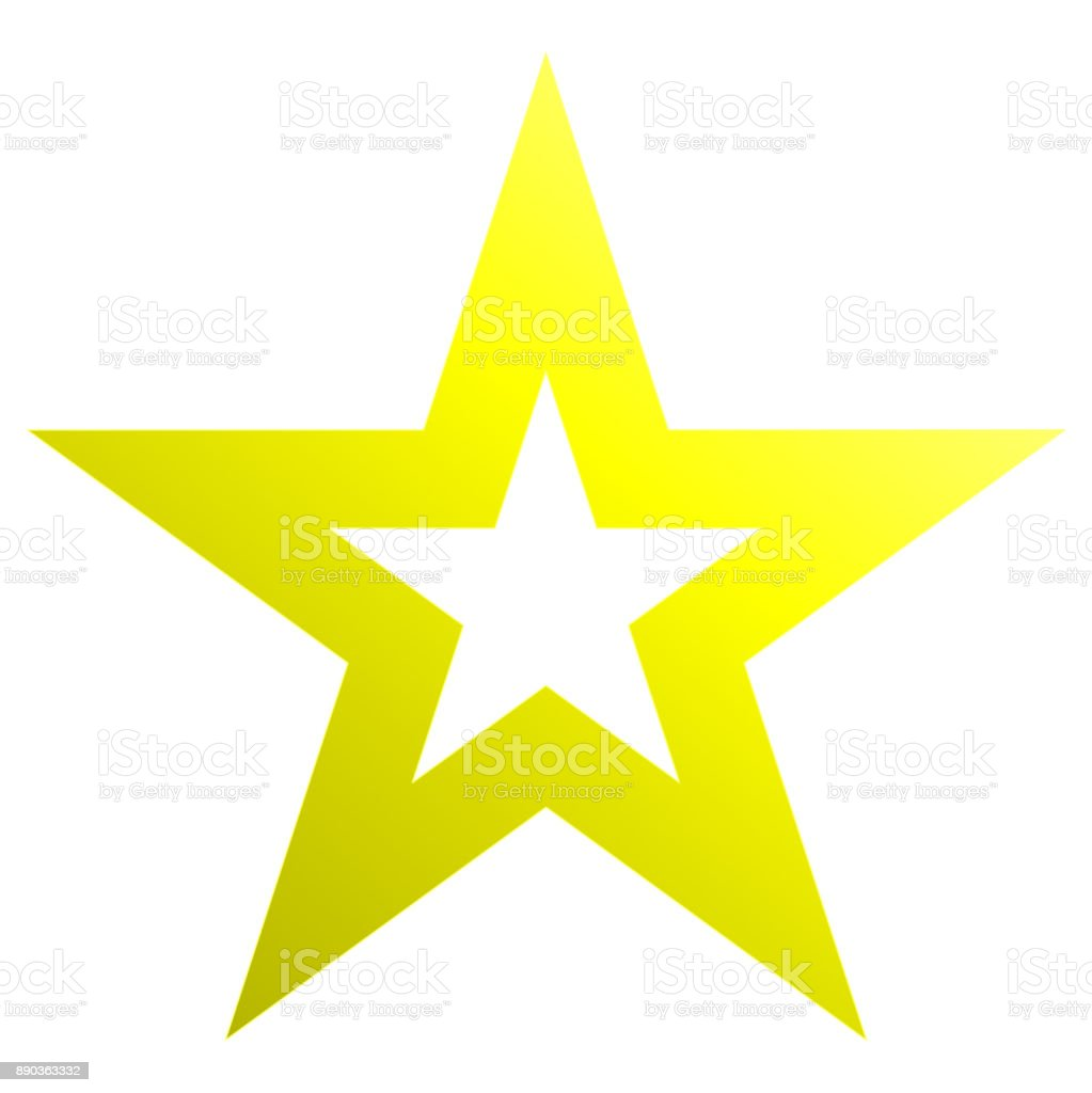 Christmas star yellow - outlined 5 point star - isolated on white vector art illustration