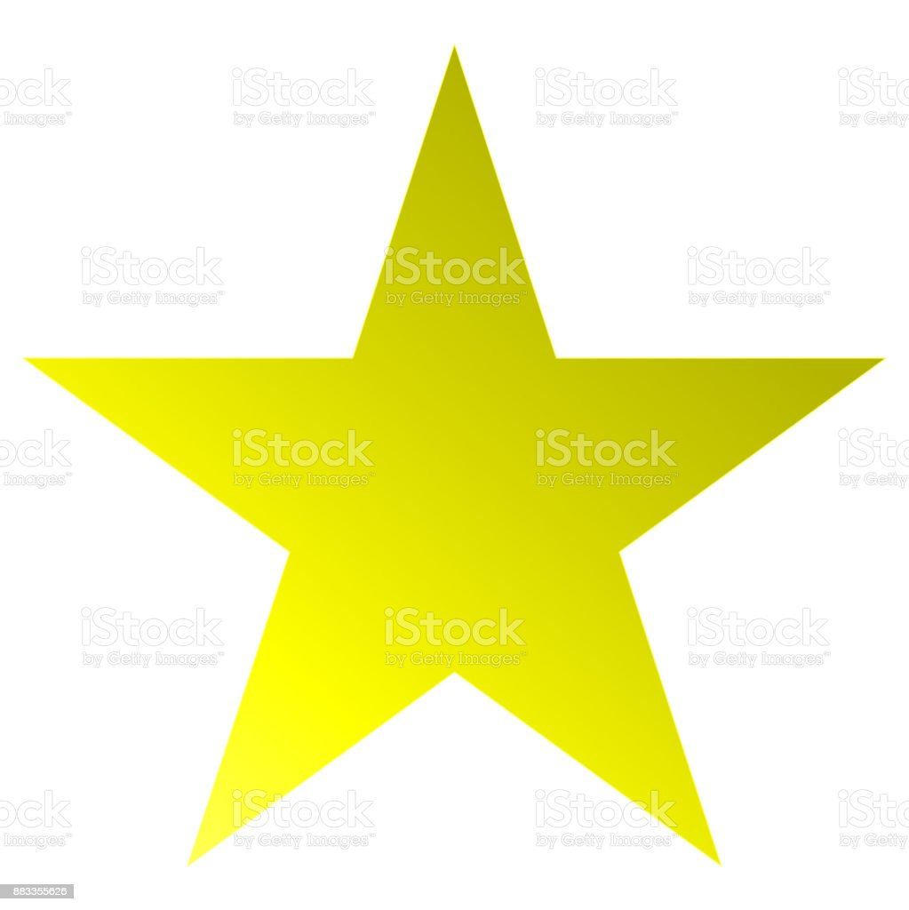 Christmas star yellow - simple 5 point star - isolated on white vector art illustration
