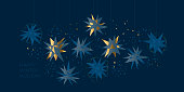 Christmas abstract stars light elegant geometric header. Lux and business vibes laconic xmas design element for card, header, invitation, poster, social media, post publication.