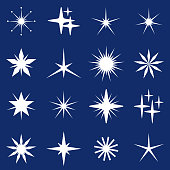 Vector Illustration with a set of several abstract stars