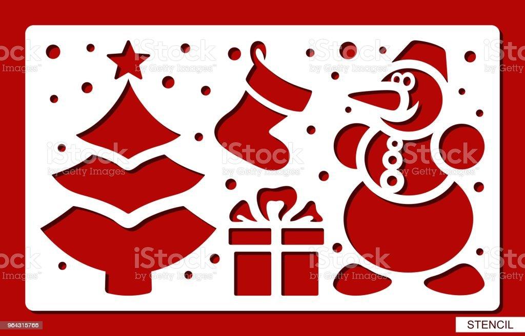Pochoir De Noël Arbre De Noël Bonhomme De Neige Chaussette Cadeau