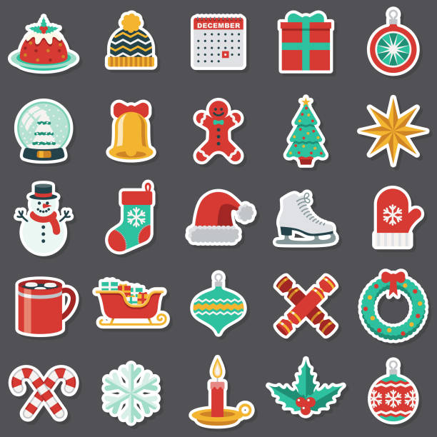 Christmas Sticker Set A set of flat design icons in a sticker type format. File is built in the CMYK color space for optimal printing. Color swatches are global so it's easy to edit and change the colors. christmas stocking stock illustrations
