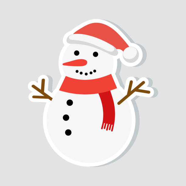 Christmas sticker. Snowman in a New Year hat and a red scarf. winter icon. Vector illustration. Christmas sticker. Snowman in a New Year hat and a red scarf. winter icon. Vector illustration snowman stock illustrations