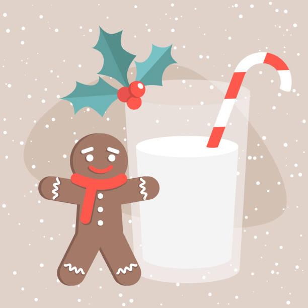 illustrazioni stock, clip art, cartoni animati e icone di tendenza di natura morta di natale: un uomo di pan di zenzero e un bicchiere di latte con una canna da zucchero / illustrazione vettoriale modificabile piatta, clip art - pranzo di natale