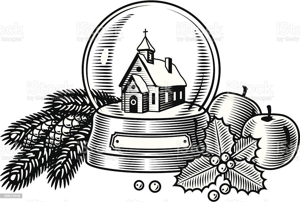 Christmas still life black and white royalty-free stock vector art