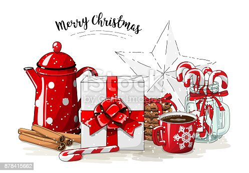 Christmas still-life, white gift box wit red ribbon, red tea pot, cookies, glass jar with candy canes, cinnamon sticks and cup of coffee on white background, vector illustration, eps 10 wit transparency