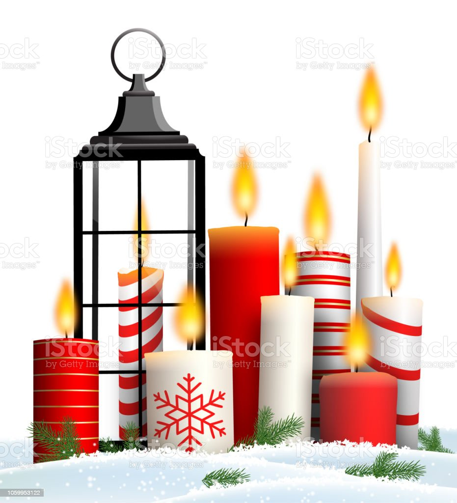christmas stilllife with group of candles in snow stock vector art