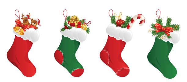 Christmas Stocking Collection Christmas Stocking Collection christmas stocking stock illustrations