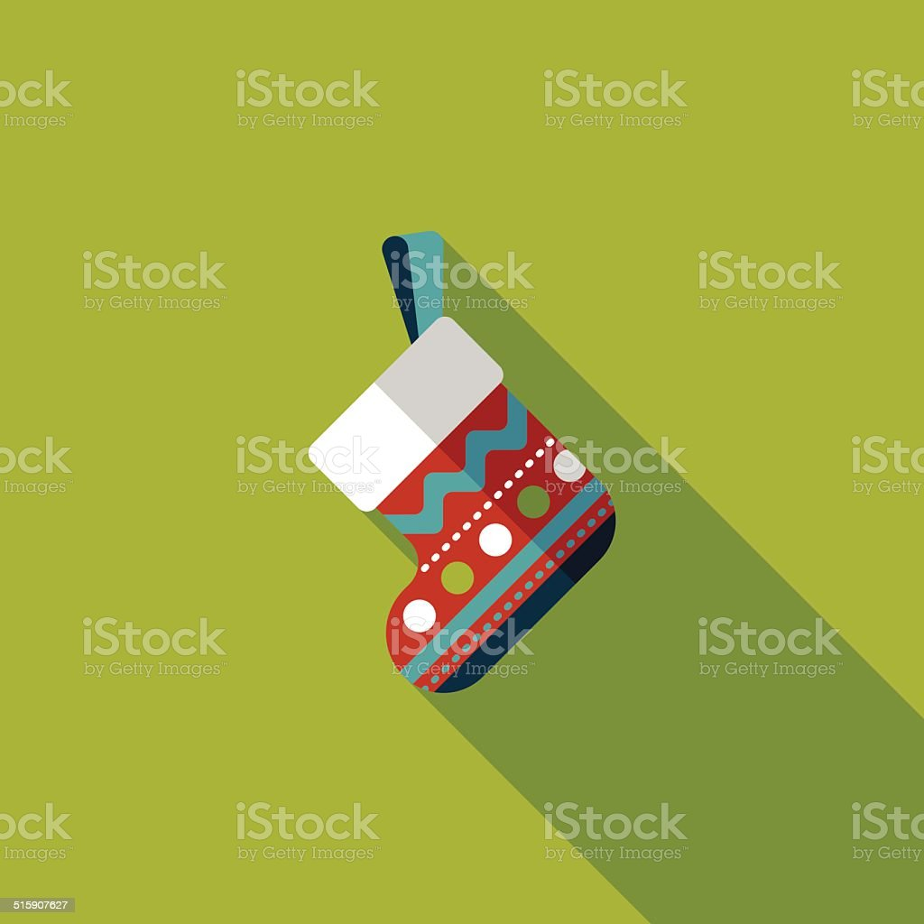 Christmas stocking flat icon with long shadow,eps10 vector art illustration