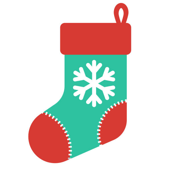 Christmas Stocking Icon on Transparent Background A flat design icon on a transparent background (can be placed onto any colored background). File is built in the CMYK color space for optimal printing. Color swatches are global so it's easy to change colors across the document. No transparencies, blends or gradients used. christmas stocking stock illustrations
