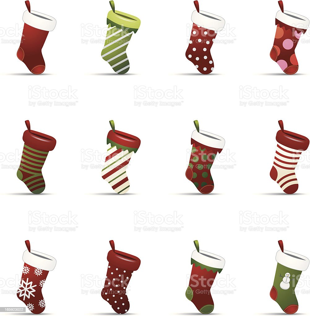 Christmas Stocking Icons vector art illustration