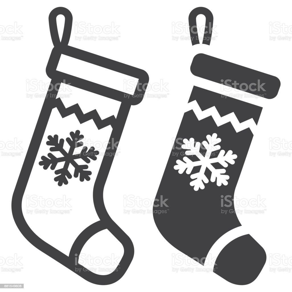 Weihnachtsstrumpflinie Und Glyphe Symbol Neujahr Und Weihnachten ...