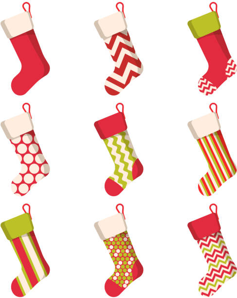 Christmas stocking set isolated on white background. Holiday Santa Claus Christmas stocking set isolated on white background. Holiday Santa Claus winter socks for gifts. Cartoon decorated present sock. Vector christmas stocking stock illustrations
