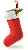 Christmas stocking isolated on white. EPS 10 file. Transparency used on highlight elements.