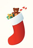 Vector Christmas stocking with gifts.
