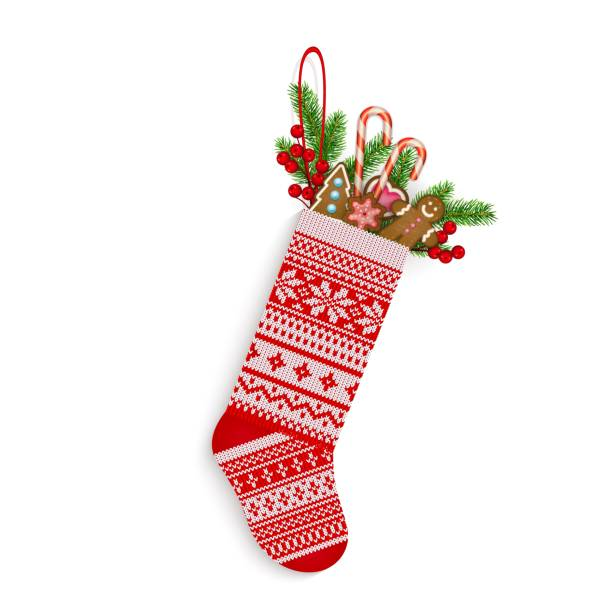 Christmas stocking with sweets and gifts in Scandinavian style isolated on white Christmas stocking with sweets and gifts in Scandinavian style isolated on white background Hand-knitting Red and white festive Christmas ornament Vector illustration christmas stocking stock illustrations