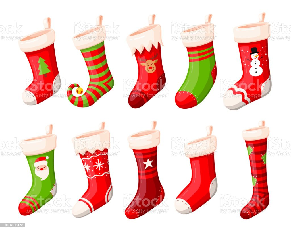 christmas stockings or socks vector set royalty free christmas stockings or socks vector set stock