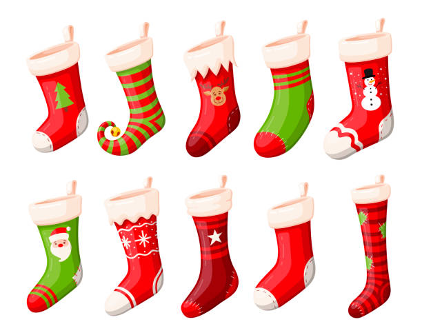 Christmas stockings or socks vector set Christmas stockings vector set isolated from background. Various traditional colorful and ornate christmas stockings or socks collection. 3d design illustrations. christmas stocking stock illustrations