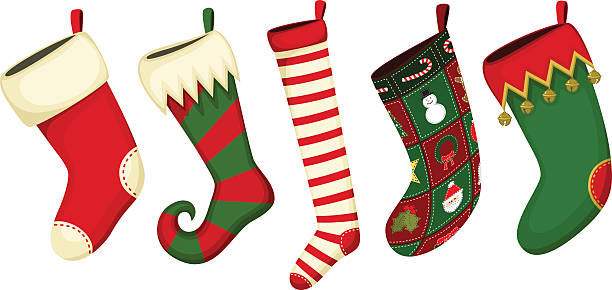 Christmas Stockings Vector illustration of a variety of Christmas stockings. Each stocking is on its own layer, easily separated from the other stockings.  Illustration uses no gradients, meshes or blends of any kind. Both .ai and AI8-compatible .eps formats are included, along with a high-res .jpg. christmas stocking stock illustrations