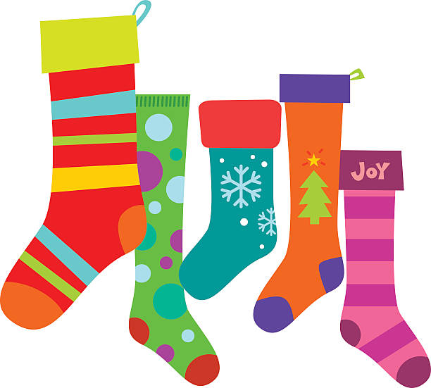 Christmas Stockings A variety of colorful Christmas stockings. Editable vector file with no gradients. christmas stocking stock illustrations