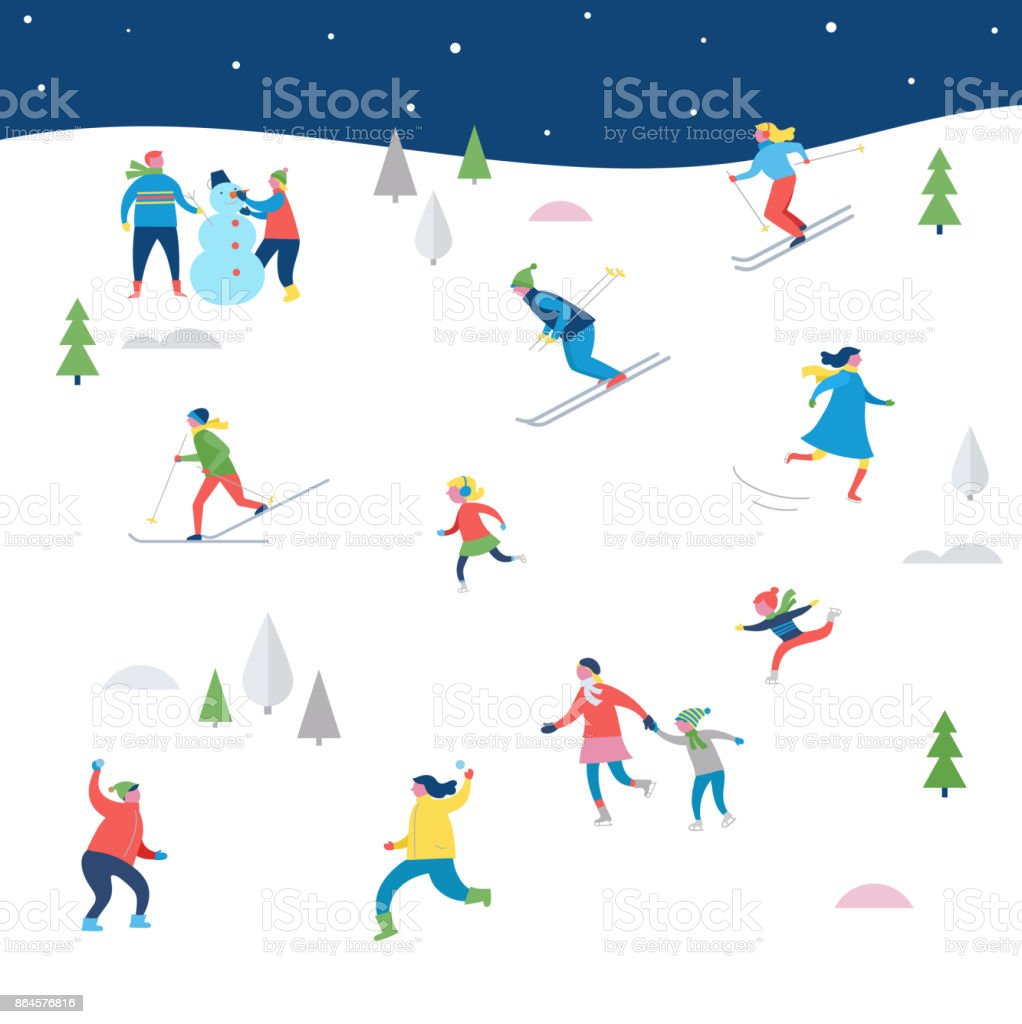 Christmas street event with families make fun vector art illustration