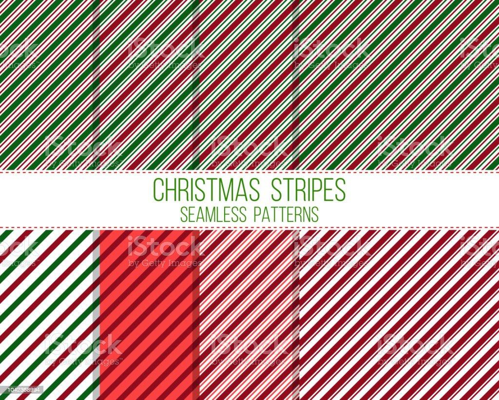christmas stripes, seamless patterns set