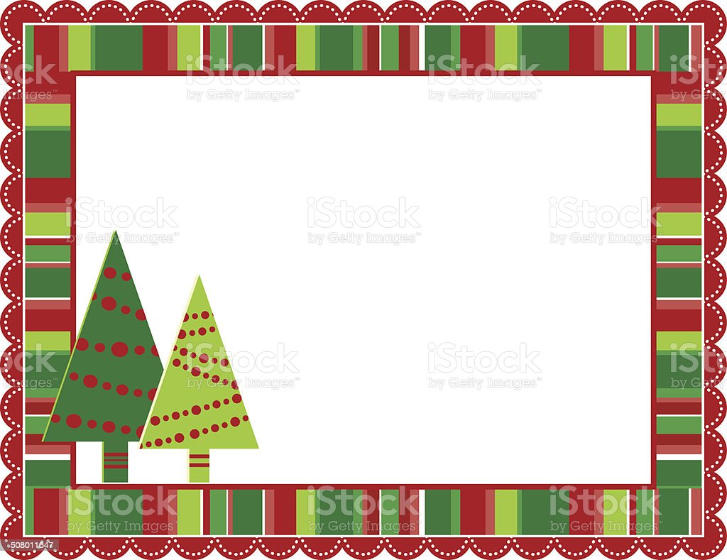 Christmas Stripped Frame vector art illustration