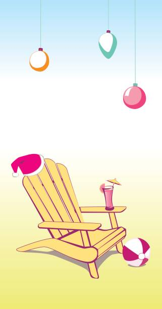 Christmas Summer Beach Chair Adirondack Beach chair with Santa Claus hat and Drink. Vector illustration with place for your copy text. EPS10 muskoka stock illustrations