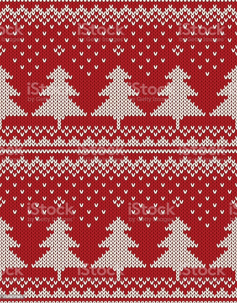 Christmas Sweater Design Seamless Pattern With Christmas Trees Stock