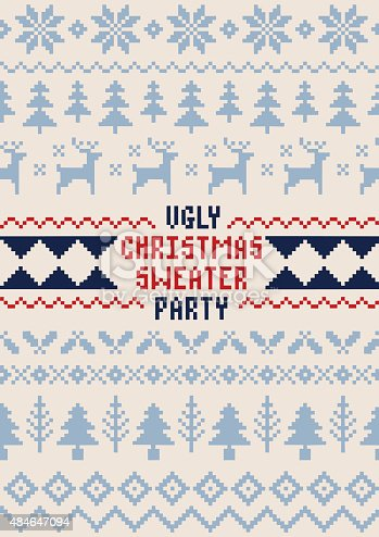 istock Christmas Sweater Party Poster - Handmade Seamless Pattern 484647094
