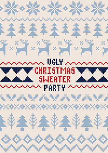 Christmas Sweater Party Poster - Handmade Seamless Pattern