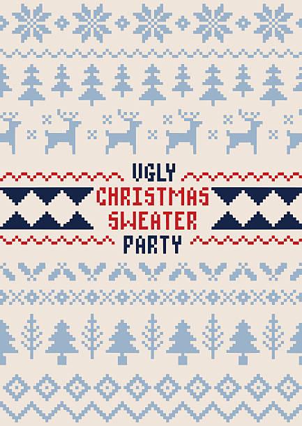 クリスマスパーティーポスター-手作りセーターのシームレスなパターン - 編む点のイラスト素材/クリップアート素材/マンガ素材/アイコン素材