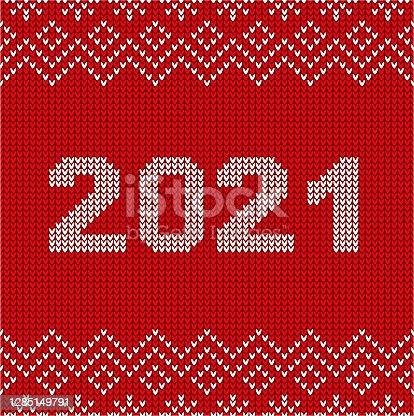 istock Christmas sweater pattern - 2021 year 1285149791