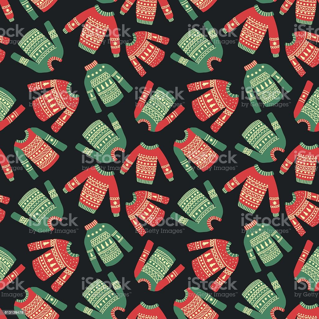 christmas sweater pattern vector art illustration